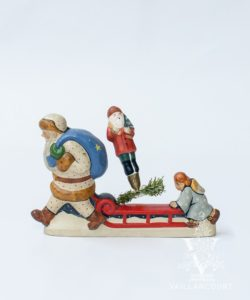 Red Father Christmas and Angel Pushing Sled, VFA Nr. 2001-30C