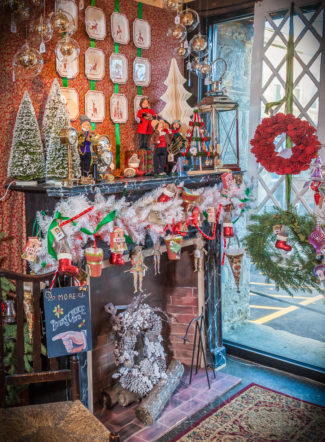 The Mantle featured at the front of the Window Display for the 2016 Christmas Opening at Vaillancourt Folk Art in Sutton, MA.