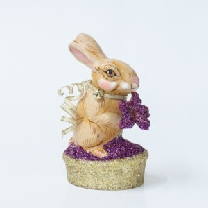 One Of A Kind Chalkware Spring Rabbit With Flower On Glittered Basket, VFA Nr. 17092