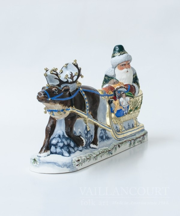 Large Embellished Santa in Golden Sleigh, VFA Nr. 17084